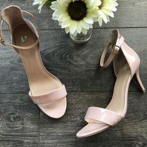 Nordstrom BP ankle strap nude patent sandal heels